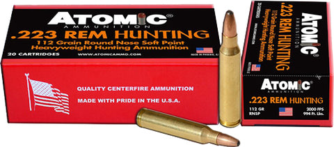 Atomic Ammo .223 Rem. 112Gr. Roundnose Softpoint 20-Pack 00483