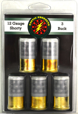 "Exotic Shorty 3 Buck 12 Ga 1 3/4"" 21-#3 Buck 1215 fps 5Pack"