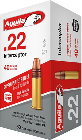 Aguila Ammo .22Lr Interceptor 1470Fps. 40Gr. Lead Rn 50-Pack 1B222320