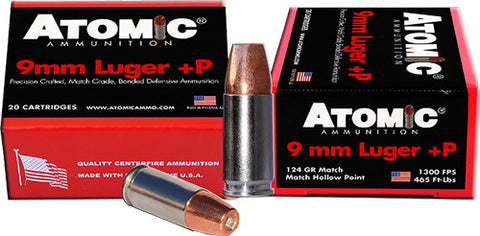 Atomic Ammo 9mm Luger +P 124gr. Bonded JHP 20-Pack