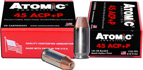 Atomic Ammo .45ACP +P 185gr. Bonded JHP 20-Pack