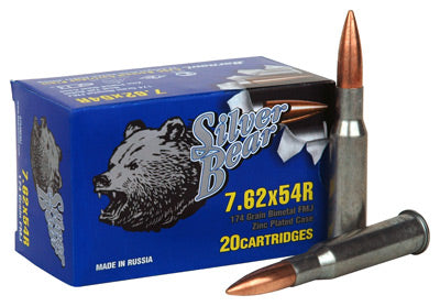 Silver Bear 7.62X54R 174Gr FMJ Zinc Plated Case 20-Pack