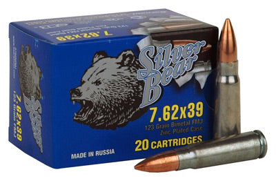Silver Bear 7.62X39 123gr. FMJ Zinc Plated 500 Round Case