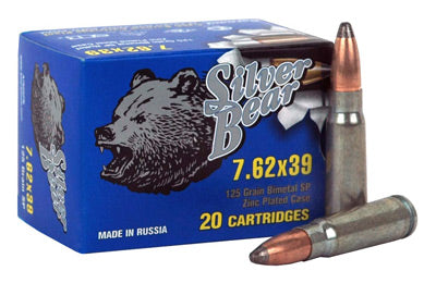 Silver Bear 7.62X39 125gr. Sp Zinc Plated 500 Round Case
