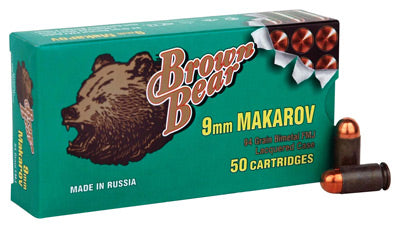 Brown Bear 9X18mm Makarov 94gr. FMJ-RN50-Pack