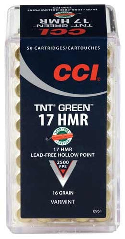 CCI Ammo Green Lead Free 17Hmr 2500fps. 16gr. TNT-HP 50-Pack