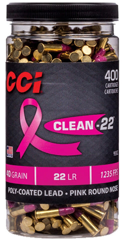 Cci Ammo Clean .22Lr Polyer Pink 400-Rounds Per Bottle 955Cc
