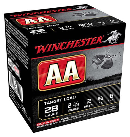 "Winchester Ammo Aa Target 28Ga. 2.75"" 1200fps. 3/4oz. #8 25-Pack"