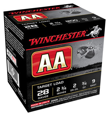 "Winchester Ammo Aa Target 28Ga. 2.75"" 1200fps. 3/4oz. #9 25-Pack"