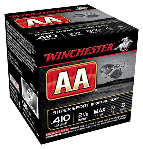 "Winchester Ammo Aa Target .410 2.5"" 1300fps. 1/2oz. #8 25-Pack"
