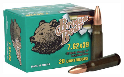 Brown Bear 7.62 X 39 123gr. HP 500Rd Case
