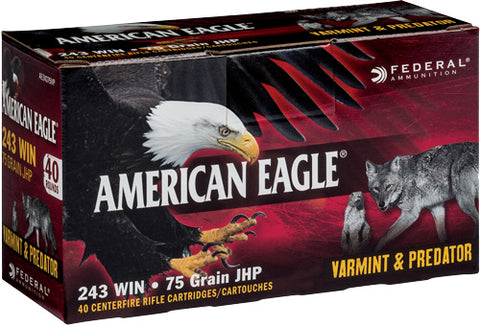 Federal Ammo Ae .243 Win. 75gr. Jacketed Hollow Point 40-Pack