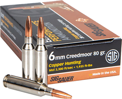 Sig Ammo 6Mm Creedmoor 80Gr. Elite Copper Hunting 20-Pack E6Mmch1-20