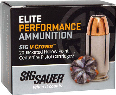 SIG Ammo 9mm Luger 124gr. Elite V-Crown JHP 20-Pack