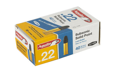 Aguila Ammunition Rimfire, 22LR, 40 Grain, Solid Point, Subsonic, 50 Round Box 1B222269