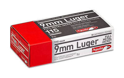 Aguila Ammunition Pistol, 9MM, 115 Grain, Full Metal Jacket, 50 Round Box 1E097704