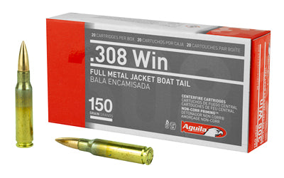 Aguila Ammunition 308 Win, 150 Grain, Full Metal Jacket Boat Tail, 20 Round Box 1E308110