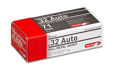 Aguila Ammunition Pistol, 32 ACP, 71 Grain, Full Metal Jacket, 50 Round Box 1E322110