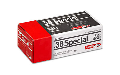 Aguila Ammunition Pistol, 38 Special, 130 Grain, Full Metal Jacket, 50 Round Box 1E382521