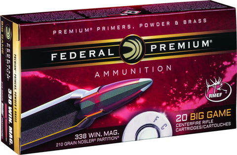 Fed Ammo .338 Win Mag 210Gr. Nosler Partition P338A2