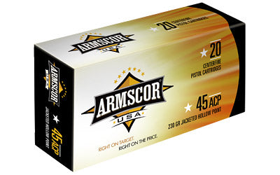 Armscor 45 ACP, 230 Grain, Jacketed Hollow Point, 20 Round Box AC45A-10N