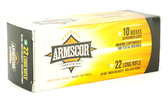 Armscor Ammo, 22LR, 36Gr, Hollow Point, Hi-Velocity, 500 Round Brick 50015PH