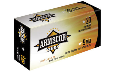 Armscor 9MM, 147 Grain, Full Metal Jacket, Subsonic, 50 Round Box FAC9-5N