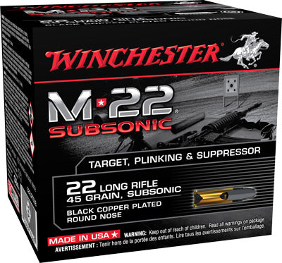 Winchester Ammo M-22 Subsonic .22LR 1255fps. 40gr. Lead RN800-Pack.