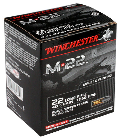 Winchester Ammo .22LR M22 1255fps. 40gr. Blk Copr Plted RN1000Pack