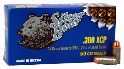 Silver Bear .380ACP 94gr. FMJ-RNZinc Plated Case 50-Pack