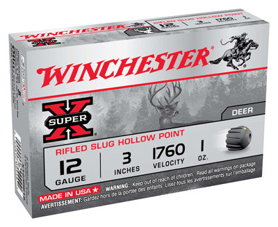 "Winchester Ammo Super-X Slugs 12Ga. 3"" 1760fps. 1oz. Rifled 5-Pack"