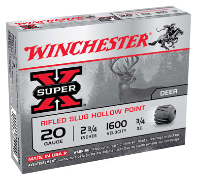 "Winchester Ammo Super-X Slugs 20Ga. 2.75"" 1600fps. 3/4oz. 5-Pack"