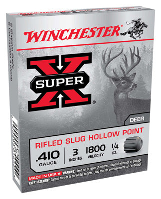 "Winchester Ammo Super-X Slugs .410 3"" 1800fps. 1/4oz. Rifled 5-Pack"
