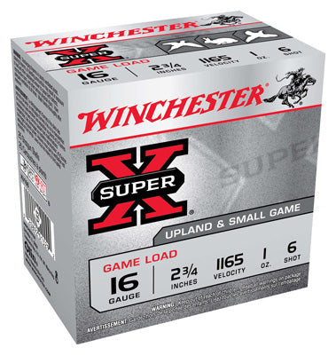 "Winchester Ammo Super-X 16Ga. 2.75"" 1165fps. 1oz. #6 25-Pack"
