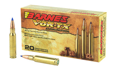 Barnes VOR-TX, 308 Win, 130Gr, Tipped Triple Shock X, Boat Tail, 20 Round Box 30816