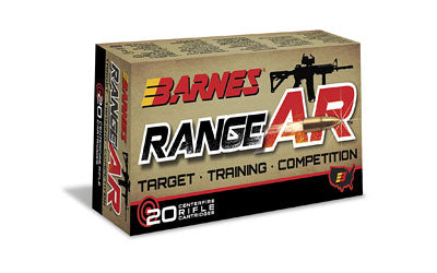 Barnes Range AR, 556NATO, 52 Grain, Zn Core Open Tip Flat Base, Lead Free, 20 Round Box BB556Z1