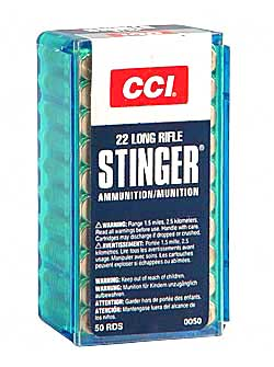 CCI/Speer Stinger, 22LR, 32 Grain, Gilded Lead Hollow Point, 50 Round Box 50