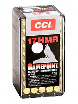 CCI/Speer Gamepoint, 17HMR, 20 Grain, Jacketed Soft Point, 50 Round Box 52