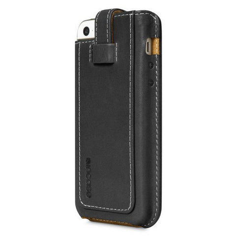 Incase Leather Fitted sleeve For iPhone 5s & 5c - Black/Tan Phone Case