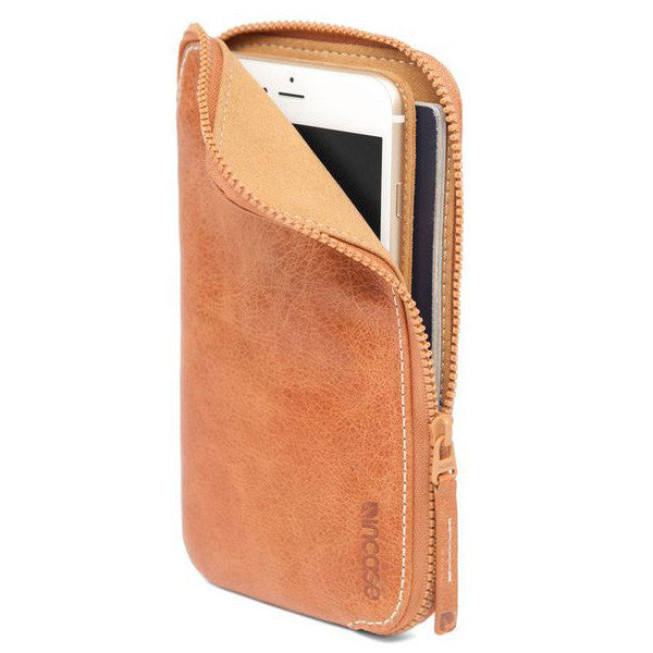 Incase iPhone 6 and 6 Plus Brown Leather Zip Wallet Phone Case
