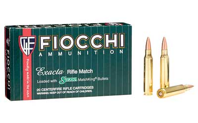 Fiocchi Ammunition Rifle, 223 Remington, 77 Grain, Hollow Point Boat Tail Match King, 20 Round Box 223MKD