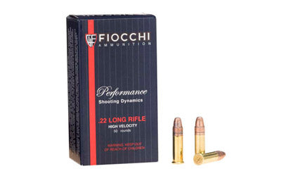 Fiocchi Ammunition Rimfire, 22LR, 40 Grain, Copper Plated Round Nose, 50 Round Box 22FHVCRN