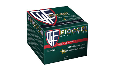 Fiocchi Ammunition Rifle, 762X39, 124 Grain, Full Metal Jacket, 20 Round Box 762SOVA