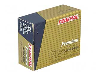 Federal Hydra-Shok, 32ACP, 65 Grain, Hollow Point, 20 Round Box P32HS1