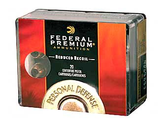Federal Premium Personal Defense (LR), 38 Special, 110 Grain, Hydra-Shok Jacketed Hollow Point, Low Recoil, 20 Round Box PD38HS3H