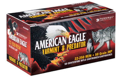 Federal American Eagle Varmint & Predator, 22-250, 50 Grain, Jacketed Hollow Point, 50 Round Box AE2225050VP