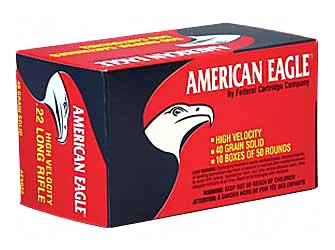 Federal American Eagle, 22LR, 40 Grain, Lead, 50 Round Box AE5022