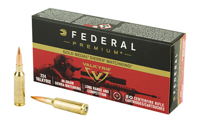 Federal Gold Medal, 224 Valkyrie, 90 Grain, Boat tail Hollow Point, 20 Round Box GM224VLK1