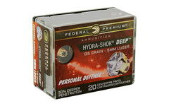 Federal Hydra-Shok Deep, 9MM, 135Gr, Hollow Point, 20 Round Box P9HSD1