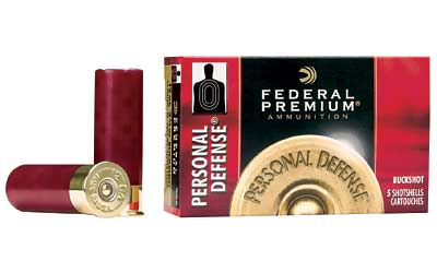 "Federal Personal Defense, 12 Gauge, 2.75"", 4 Buck, Buckshot, 34 Pellet, 5 Round Box PD1564B"